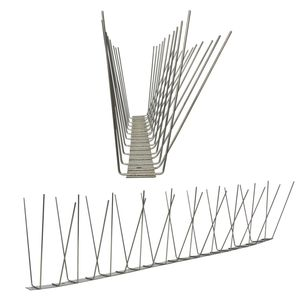 3.3 feet (1 Meter) 3 row pigeon spikes on stainless steel base - high quality solution for bird control spikes 001