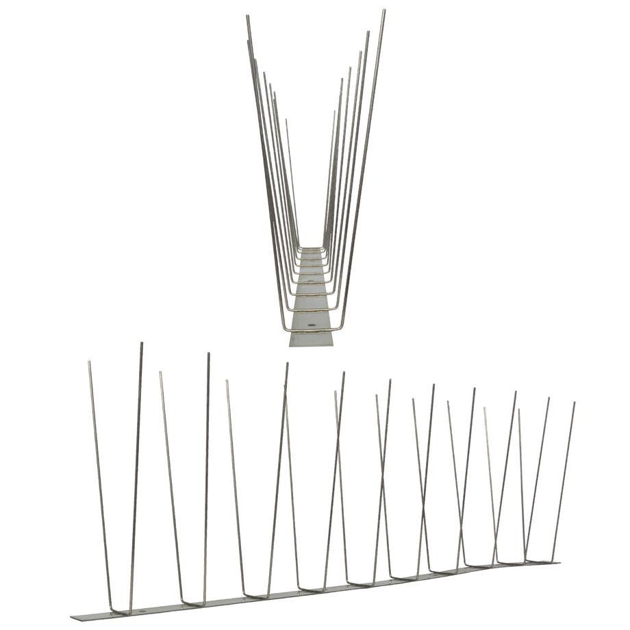 1 Meter Möwenspikes 2-reihig auf V2A-Standard - hochwertige Lösung für Vogelabwehr Taubenabwehr Edelstahl Spikes – Bild 1