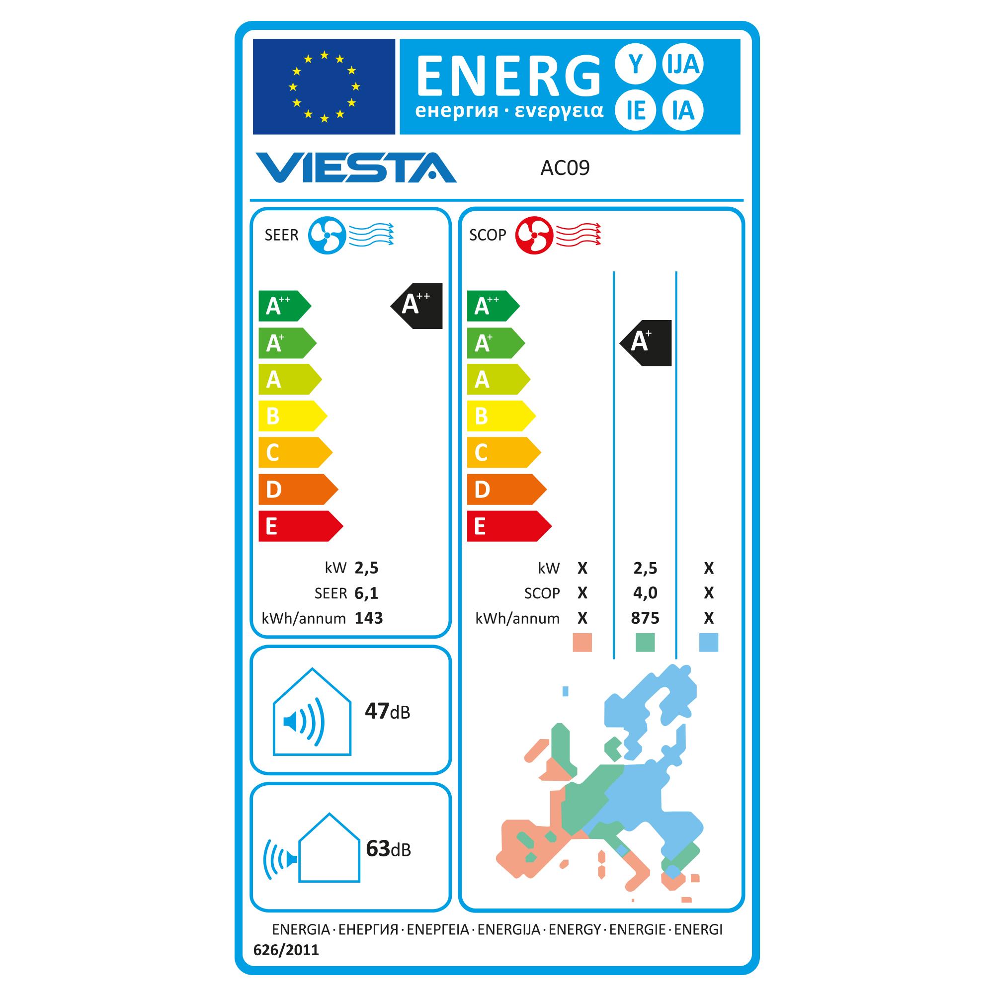 Viesta Klimaanlage AC18 energiesparendes Klima Splitgerät - 18000 BTU für Räume bis 64qm - angenehm leise - Timer- und Entfeuchter-Funktion - weiß