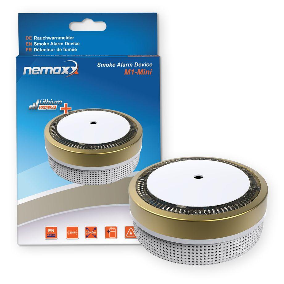 Nemaxx M1-Mini Rauchmelder - sensibler, photoelektrischer Rauchwarnmelder mit Lithiumbatterie Typ DC3V nach DIN EN14604 & VdS - gold + NX1 Befestigungspad – Bild 1