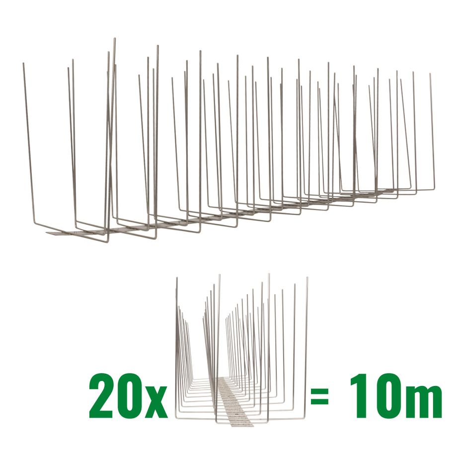 32.8 feet (10 meter) 4 row seagull spikes on stainless steel base - high quality solution for bird control spikes - Titan – Bild 1