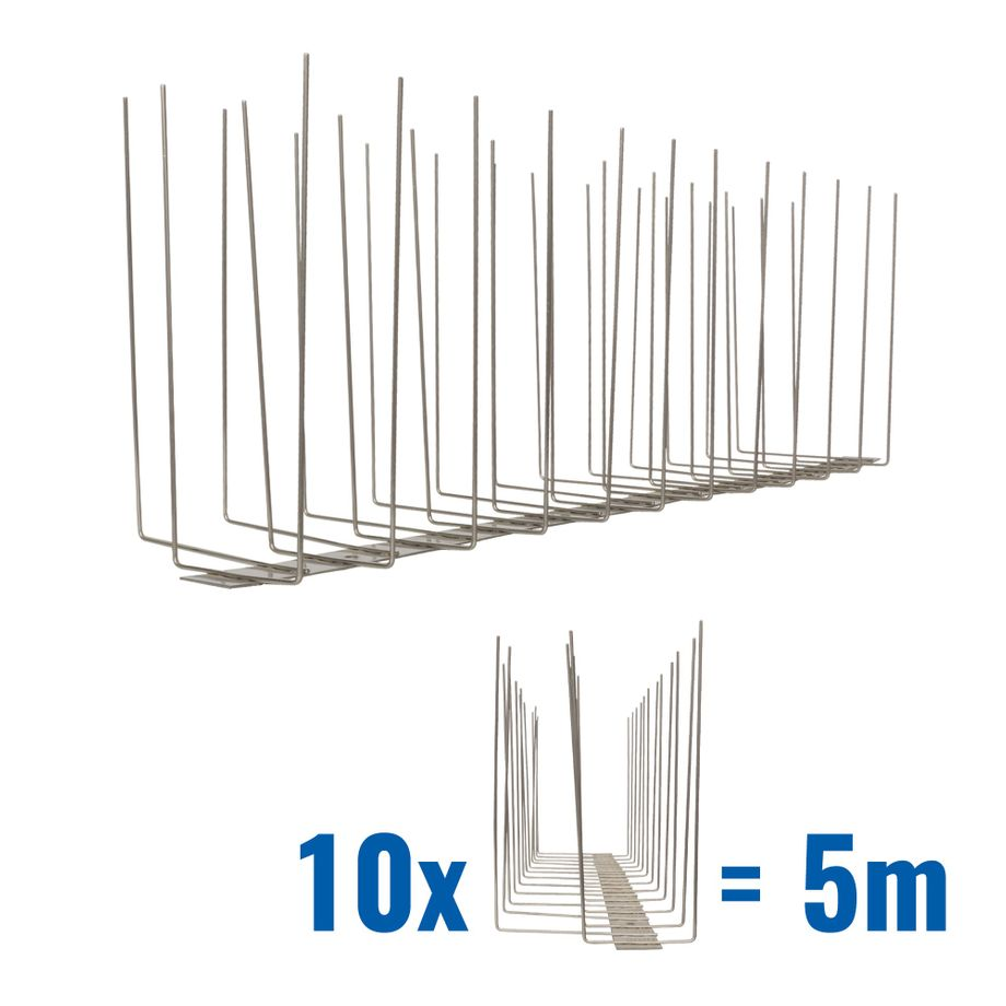 16.4 feet (5 meter) 3 row seagull spikes on stainless steel base - high quality solution for bird control spikes - Titan – Bild 1