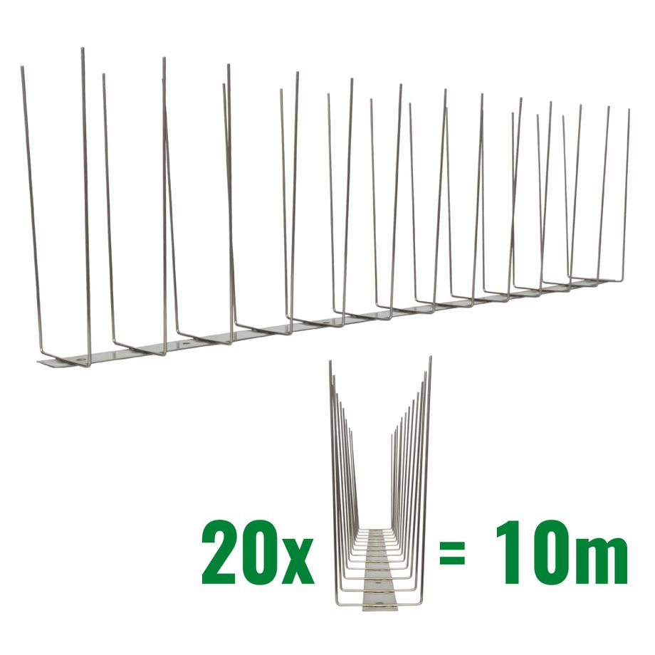 32.8 feet (10 meter) 2 row seagull spikes on stainless steel base - high quality solution for bird control spikes - Titan – Bild 1