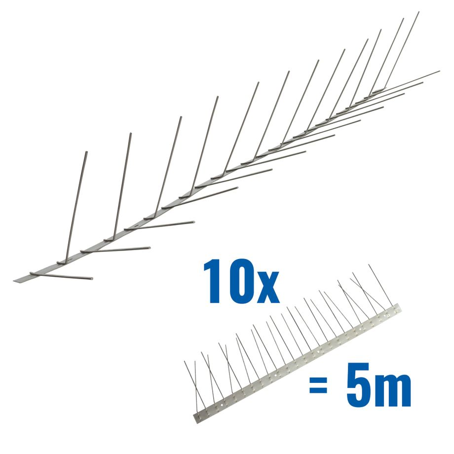 16.4 feet (5 meter) Titan pigeon spikes for gutter 2 rows on stainless steel base - high-quality solution for bird control spikes – Bild 1