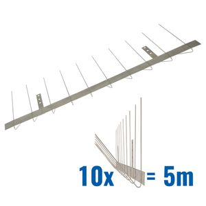 16.4 feet (5 meter) Standard pigeon spikes for gutter 2 rows on stainless steel base - high-quality solution for bird control spikes 001
