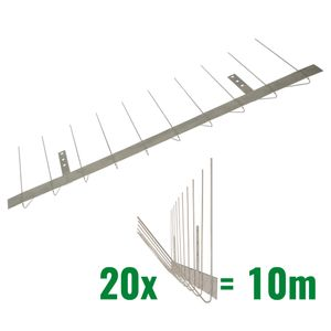 32.8 feet (10 meter) Standard pigeon spikes for gutter 2 rows on stainless steel base - high-quality solution for bird control spikes 001