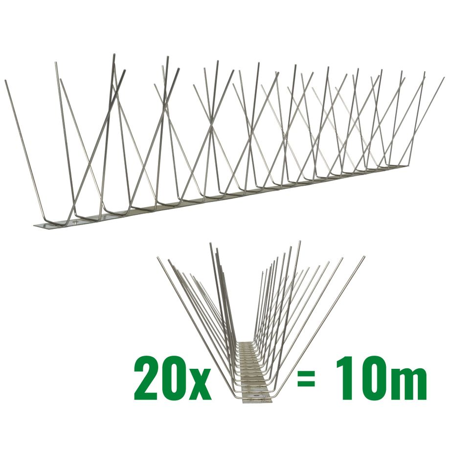 32.8 feet (10 meter) 4 row pigeon spikes on stainless steel base - high quality solution for bird control spikes – Bild 1