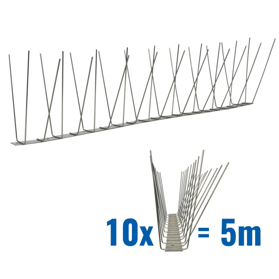 16.4 feet (5 meter) 3 row pigeon spikes on stainless steel base - high quality solution for bird control spikes