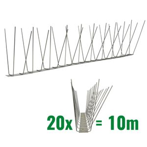 32.8 feet (10 meter) 3 row pigeon spikes on stainless steel base - high quality solution for bird control spikes 001