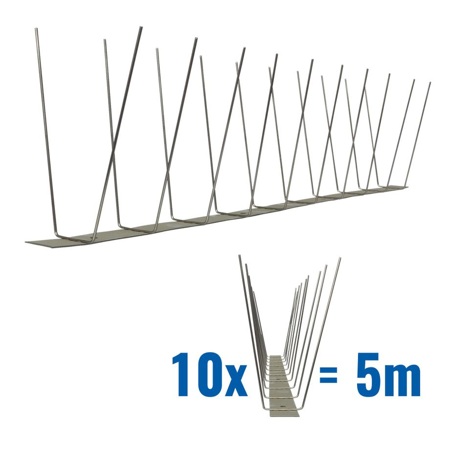 16.4 feet (5 meter) 2 row pigeon spikes on stainless steel base - high quality solution for bird control spikes