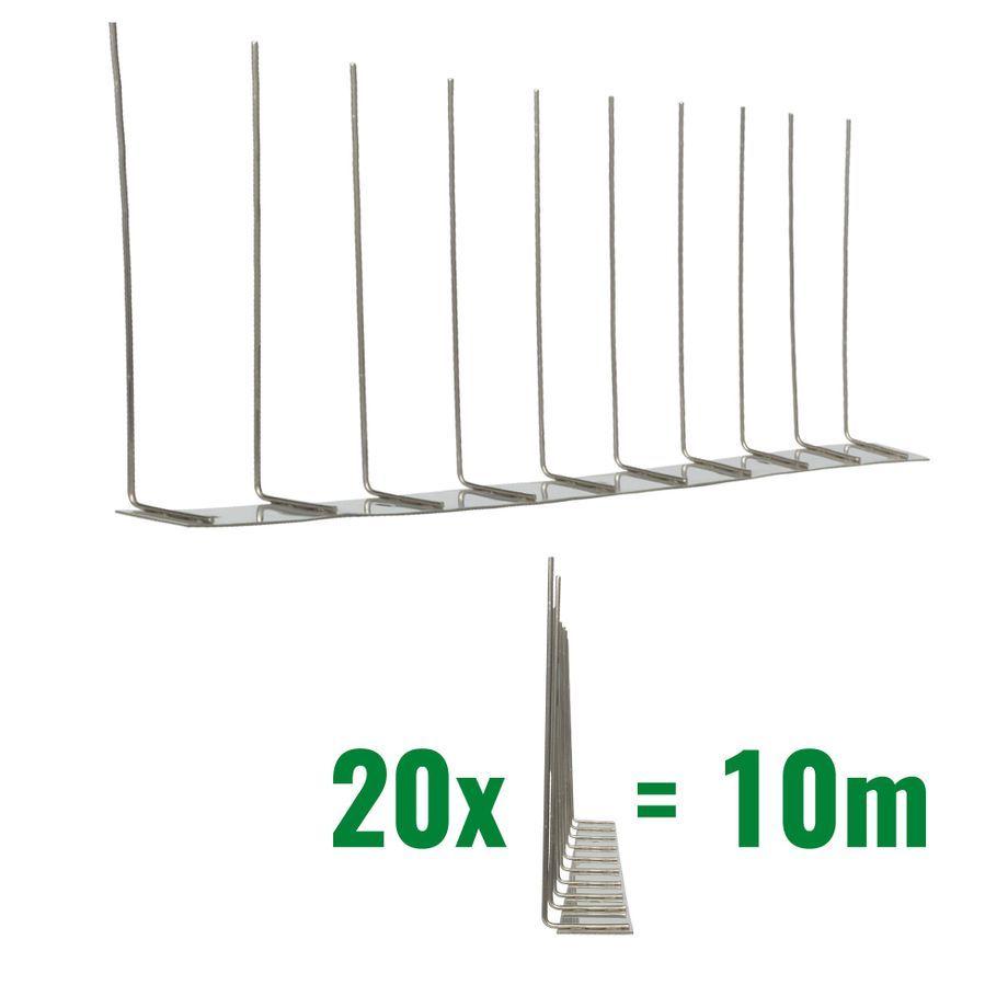 32.8 feet (10 meter) 1 row pigeon spikes on stainless steel base - high quality solution for bird control spikes