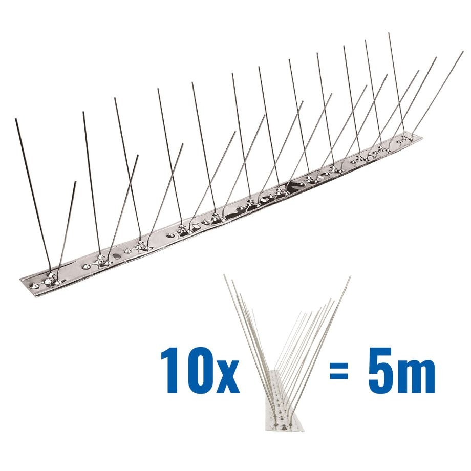 16.4 feet (5 meter) 2 row pigeon spikes on stainless steel base - high quality solution for bird control spikes – Bild 1