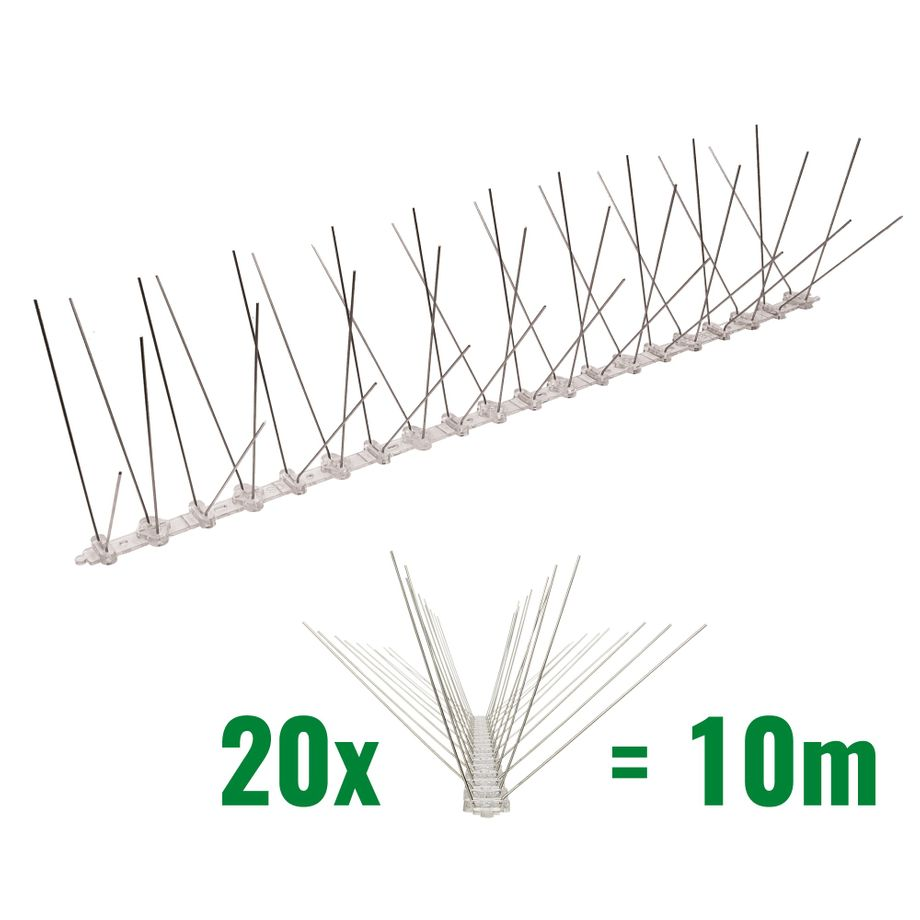 32.8 feet (10 meter) 4 row pigeon spikes on polycarbonat base - high quality solution for bird control spikes – Bild 1