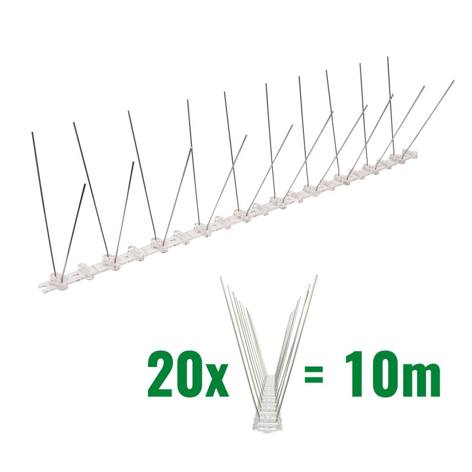 32.8 feet (10 meter) 2 row pigeon spikes on polycarbonat base - high quality solution for bird control spikes – Bild 1
