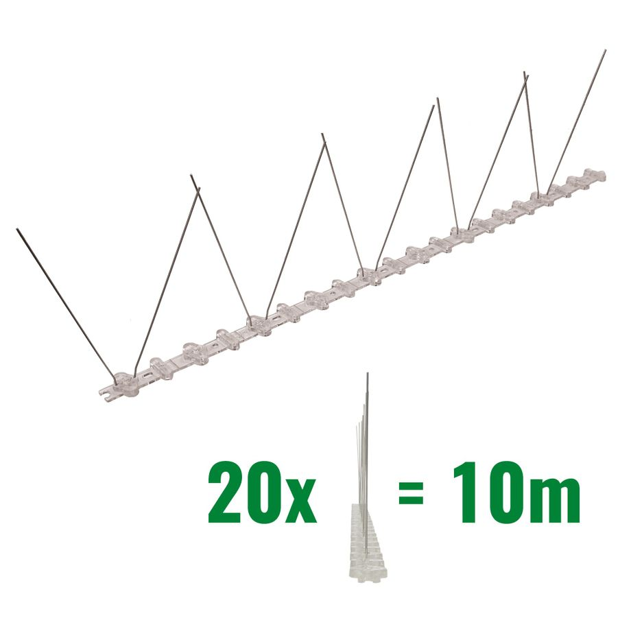 32.8 feet (10 meter) 1 row pigeon spikes on polycarbonat base - high quality solution for bird control spikes – Bild 1