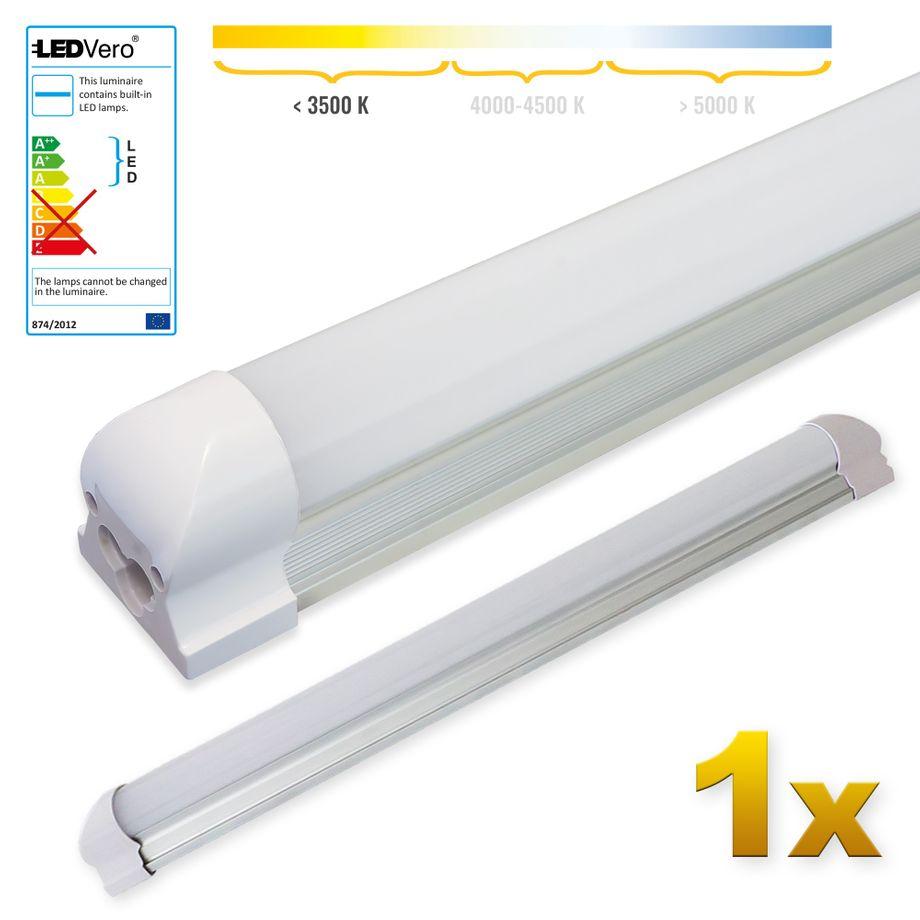 LEDVero 1x SMD LED Röhre 60 cm inklusive Fassung - Leuchtstoffröhre T8 G13 Tube milchige Abdeckung - Lichtleiste mit 8W, 800lm- montagefertig – Bild 1