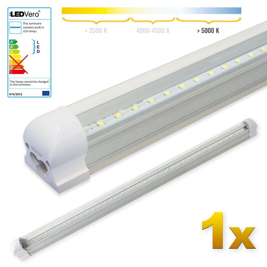 LEDVero 1x SMD LED Röhre 90 cm inklusive Fassung in kaltweiss - Leuchtstoffröhre T8 G13 Tube transparent Abdeckung - Lichtleiste mit 14 W, 1400lm- montagefertig – Bild 1