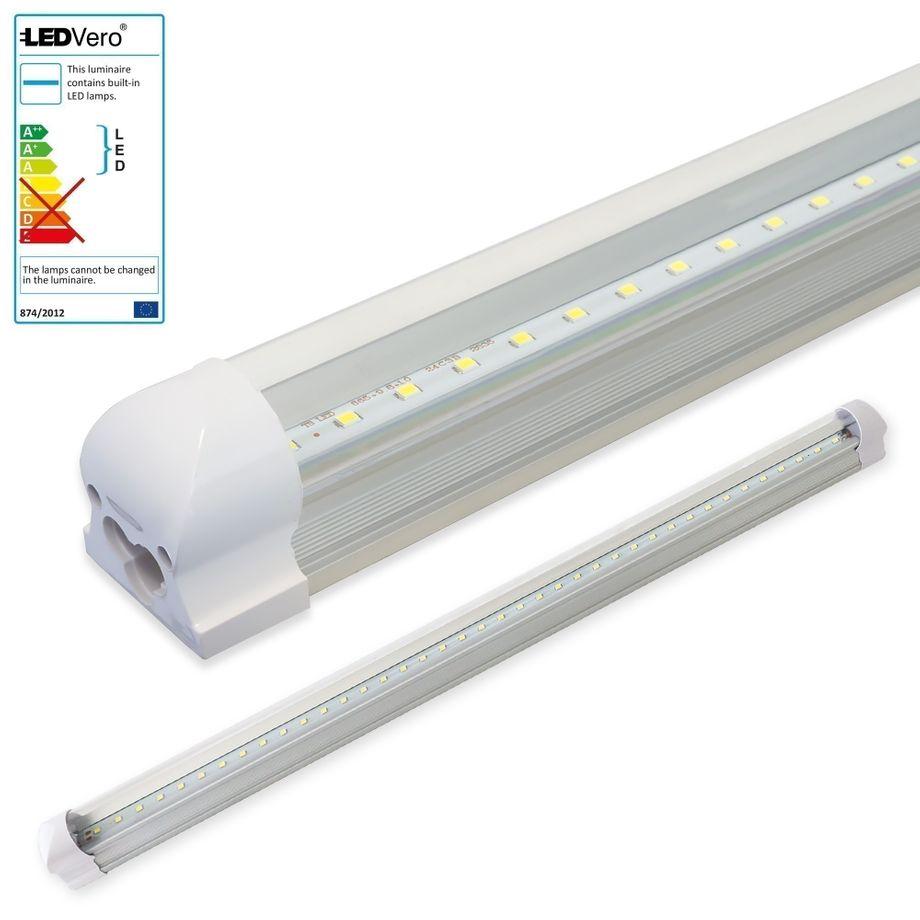 LEDVero 1x SMD LED Röhre 90 cm inklusive Fassung in neutralweiss- Leuchtstoffröhre T8 G13 Tube transparent Abdeckung - Lichtleiste mit 14 W, 1400lm- montagefertig – Bild 1