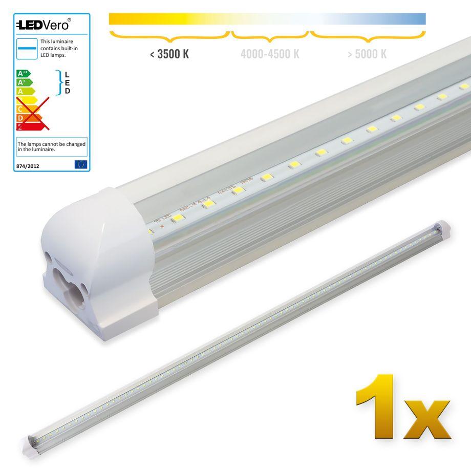 LEDVero 1x SMD LED Röhre 150 cm inklusive Fassung in warmweiss - Leuchtstoffröhre T8 G13 Tube transparent Abdeckung - Lichtleiste mit 25 W, 2500lm- montagefertig – Bild 1