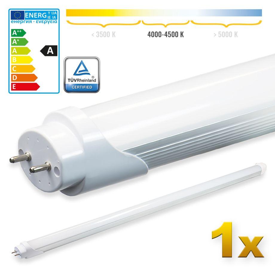 LEDVero 1x SMD LED Röhre 100 cm mit TÜV-Zertifizierung in neutralweiß - Leuchtstoffröhre T8 G13 Tube milchige Abdeckung - 16W, 1600lm- montagefertig – Bild 1