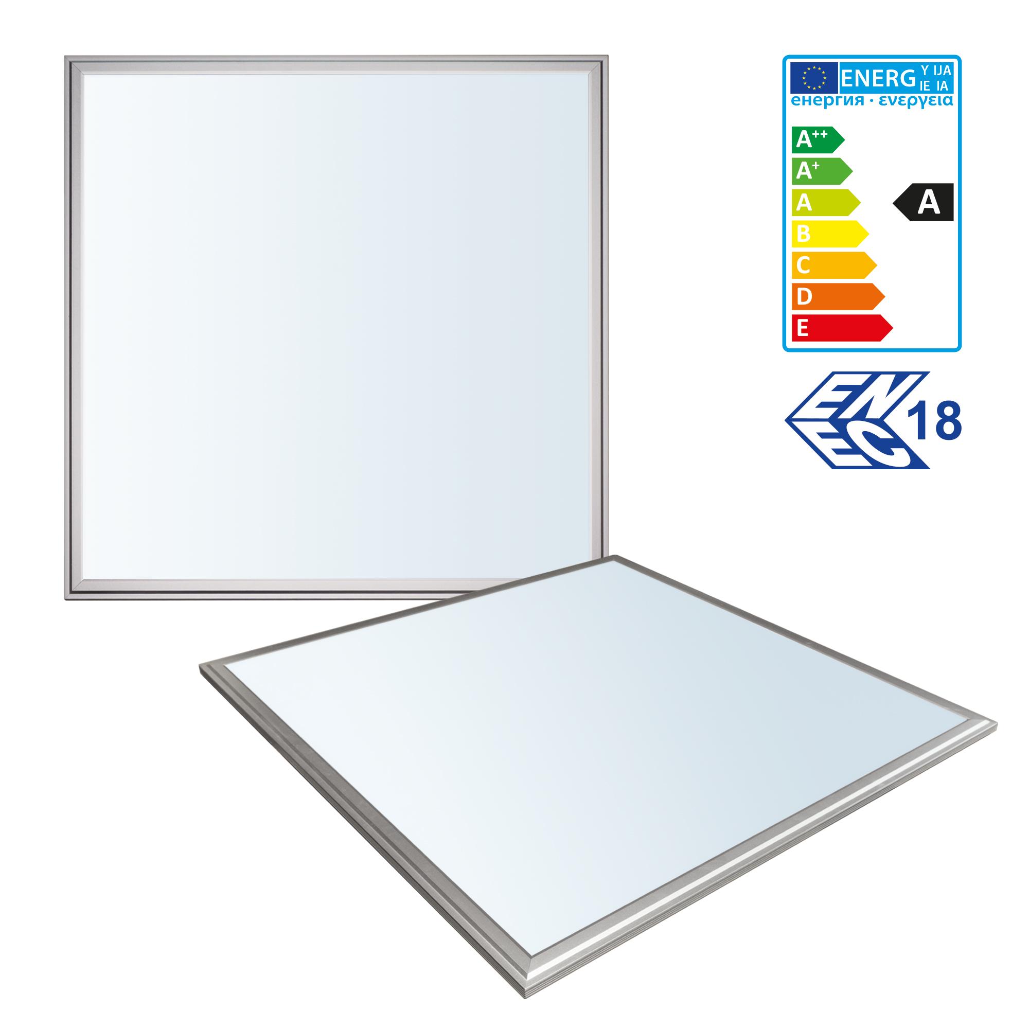 1x LEDVero 60x60 ENEC High Lumen 45W Ultraslim LED Panel 3500lm Deckenleuchte mit Befestigungsclips und EMVTrafo - Kaltweiß - Energieklasse A