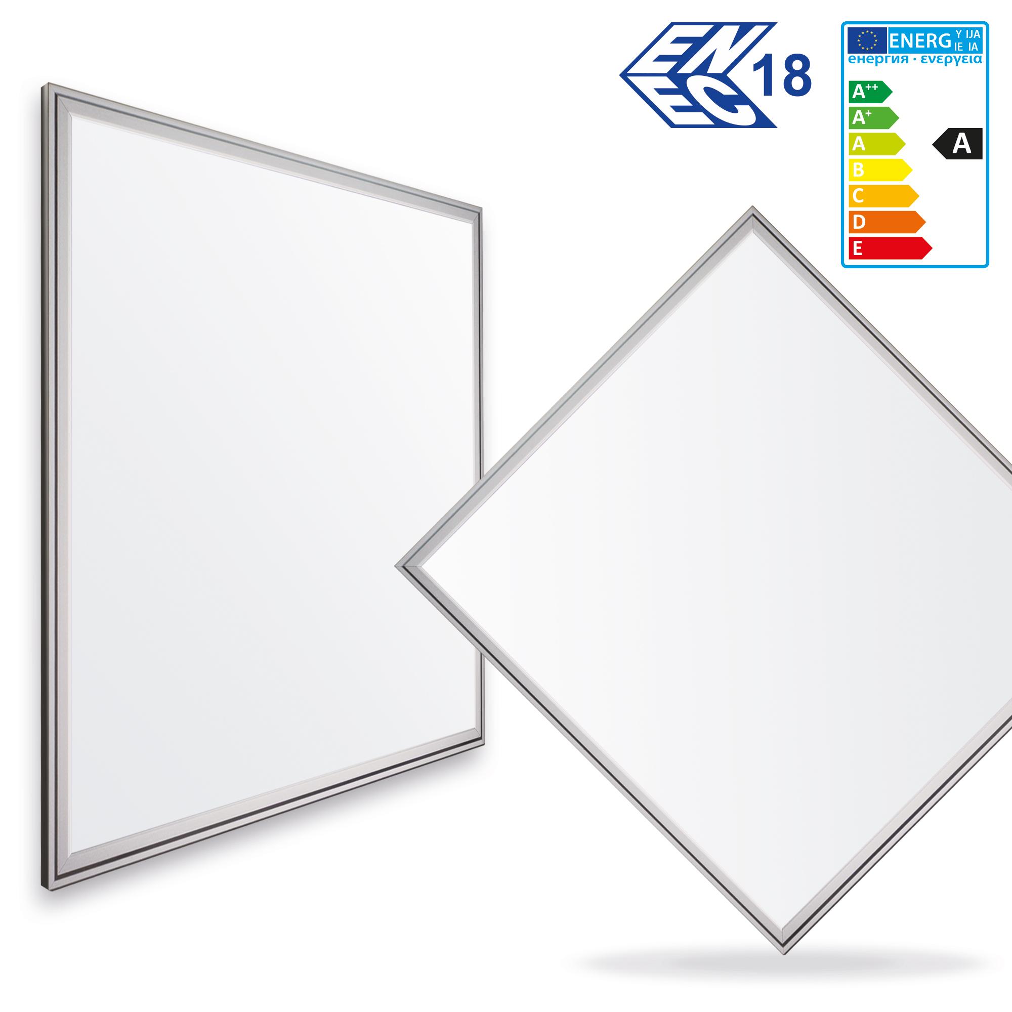 1x LEDVero 60x60 ENEC High Lumen 45W Ultraslim LED Panel 3500lm Deckenleuchte mit Befestigungsclips und EMV Trafo - Neutralweiß - Energieklasse A
