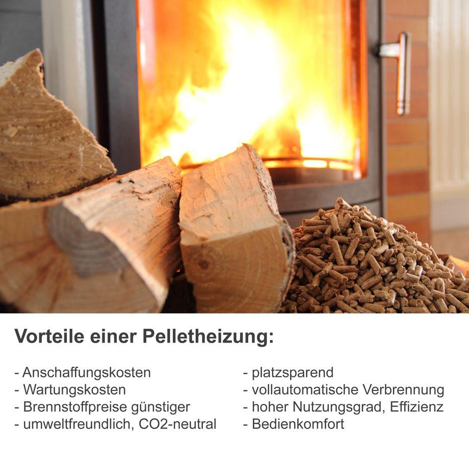 Nemaxx P6 Pelletofen Pelletkamin Pelletkaminofen 6 kW Kaminofen Heizofen Pellet Ofen Kamin Pelletheizung Heizung - Rot – Bild 1
