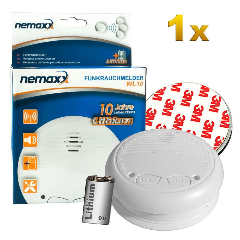 1x Nemaxx WL10 Funkrauchmelder - mit 10 Jahre Lithium Batterie Rauchmelder Feuermelder Set Funk koppelbar vernetzt - nach DIN EN 14604 + 1x  Magnethalterung – Bild 1