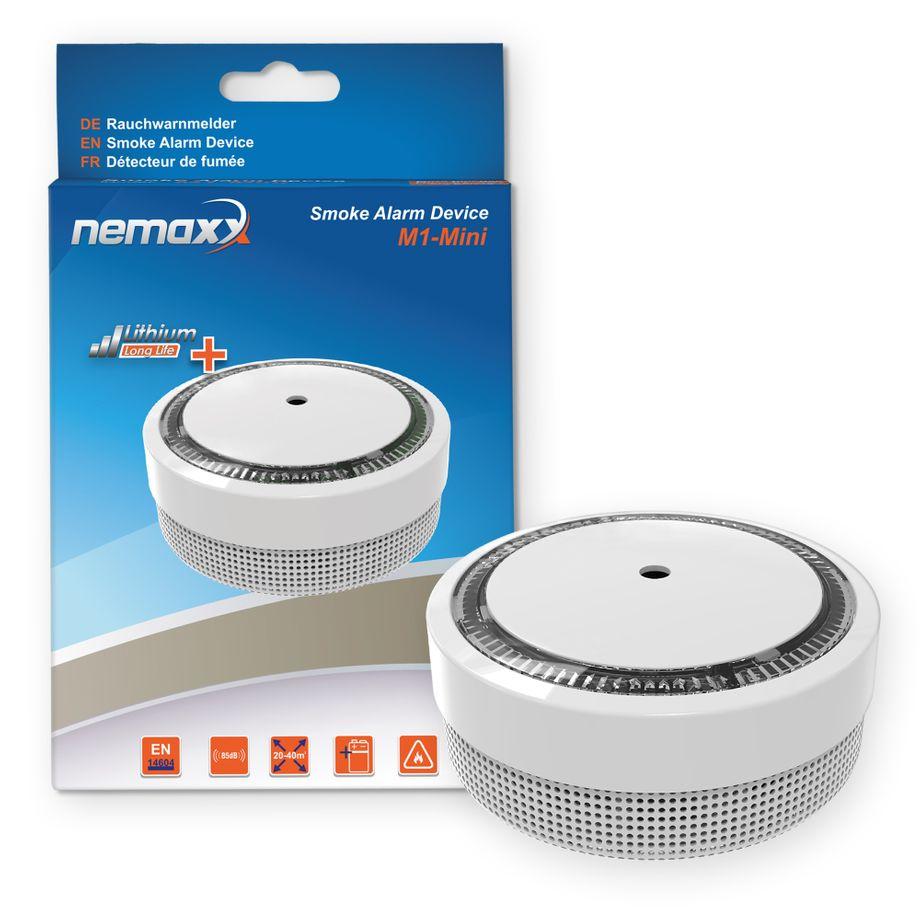 1x Nemaxx M1-Mini Rauchmelder weiß - fotoelektrischer Rauchwarnmelder nach neuestem VdS Standard mit Lithiumbatterie Typ DC3V nach DIN EN14604 + 1x Nemaxx Magnethalterung – Bild 1