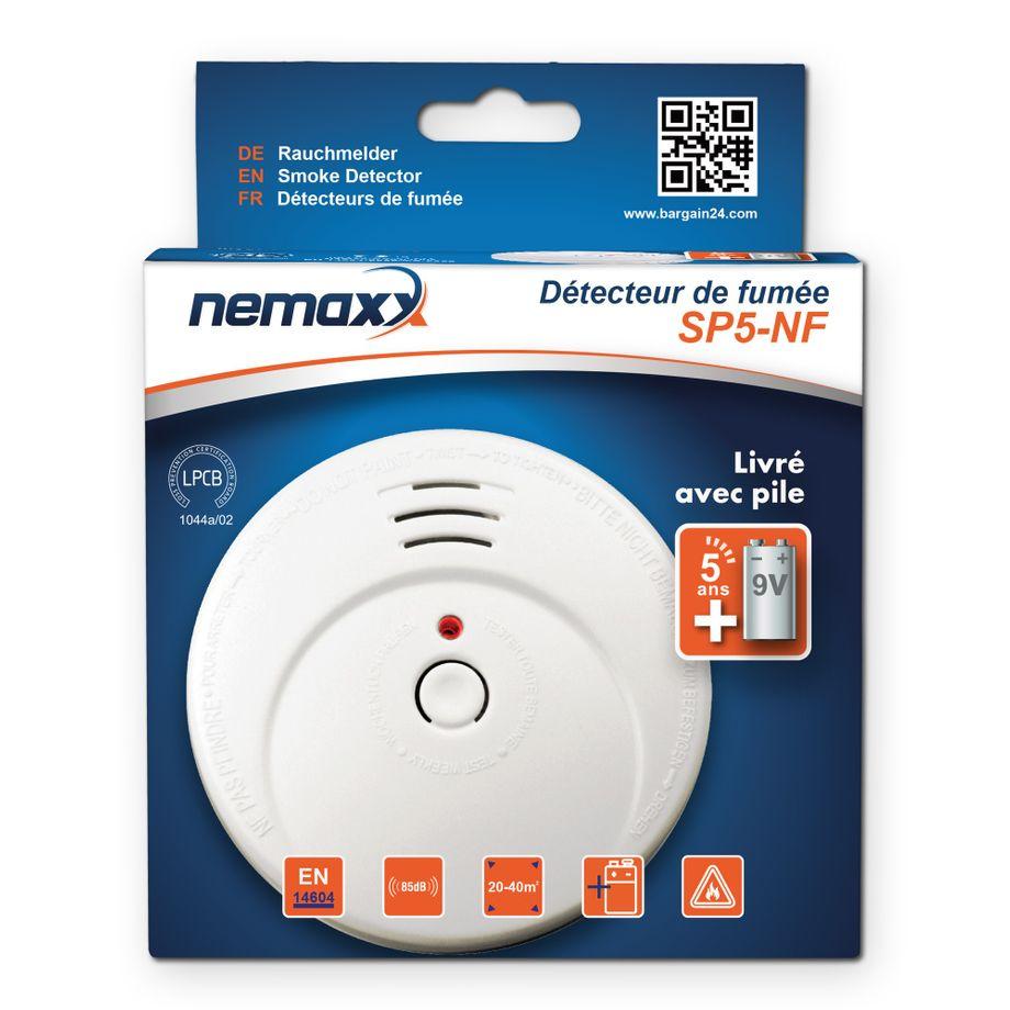 1x Nemaxx SP5-NF Rauchmelder - hochwertiger Rauchwarnmelder mit sensibler fotoelektrischer Technologie nach EN 14604 mit NF-Zertifikat + 1x Nemaxx Magnethalterung – Bild 1