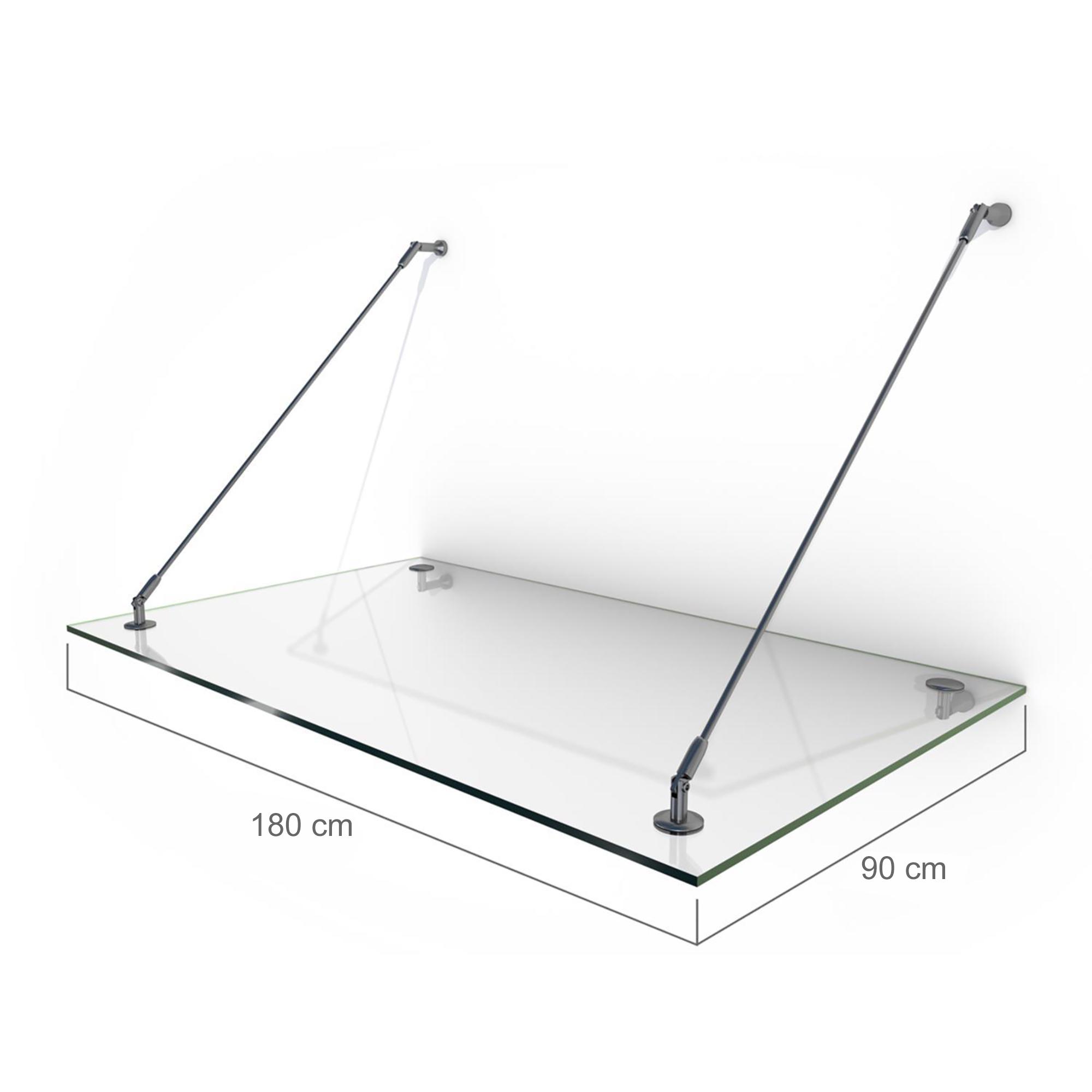 Nemaxx Glasvordach GVK 180 x 90 cm  - KLAR, VSG Türvordach, Haustür Überdachung inkl.Edelstahl Halter
