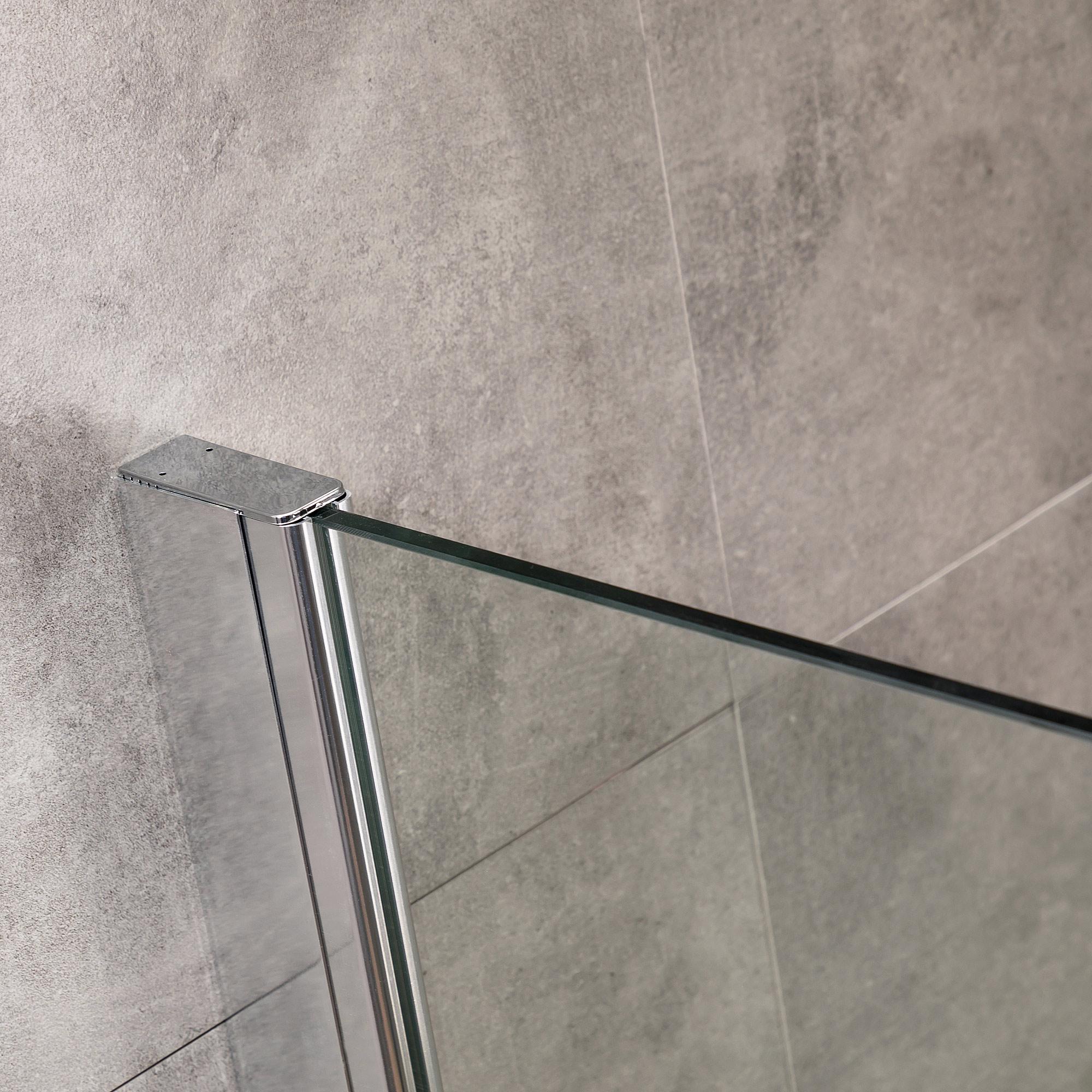 Viesta Duschwand, Duschtrennwand DW90 - Duschabtrennung aus ESG Sicherheitsglas mit Nano-Beschichtung und Montagezubehör 90x195 cm
