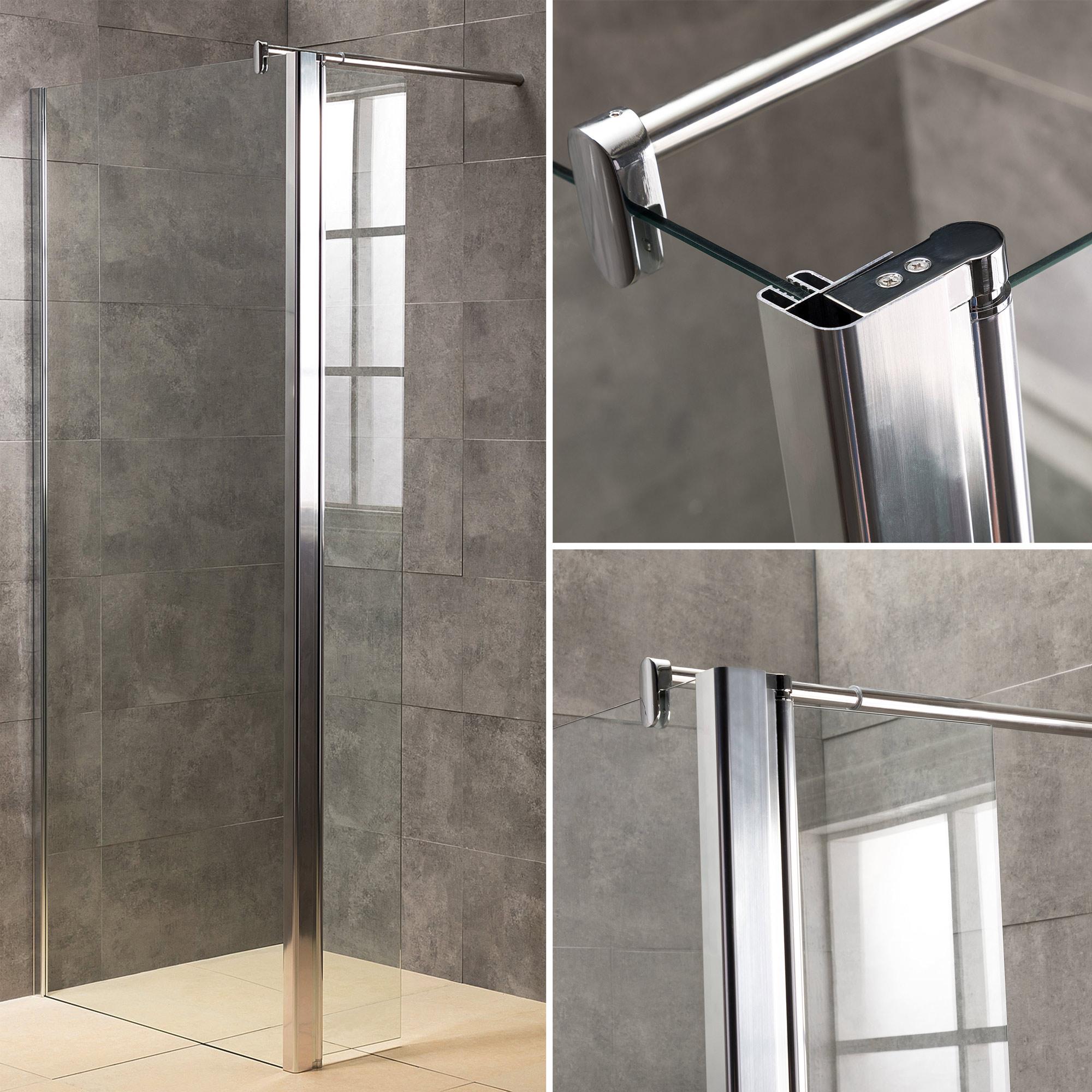 Viesta Duschwand, Duschtrennwand DWP120 - inkl. Eckpaneel (30 cm) - Duschabtrennung aus ESG Sicherheitsglas mit Nano-Beschichtung und Montagezubehör 120x195 cm