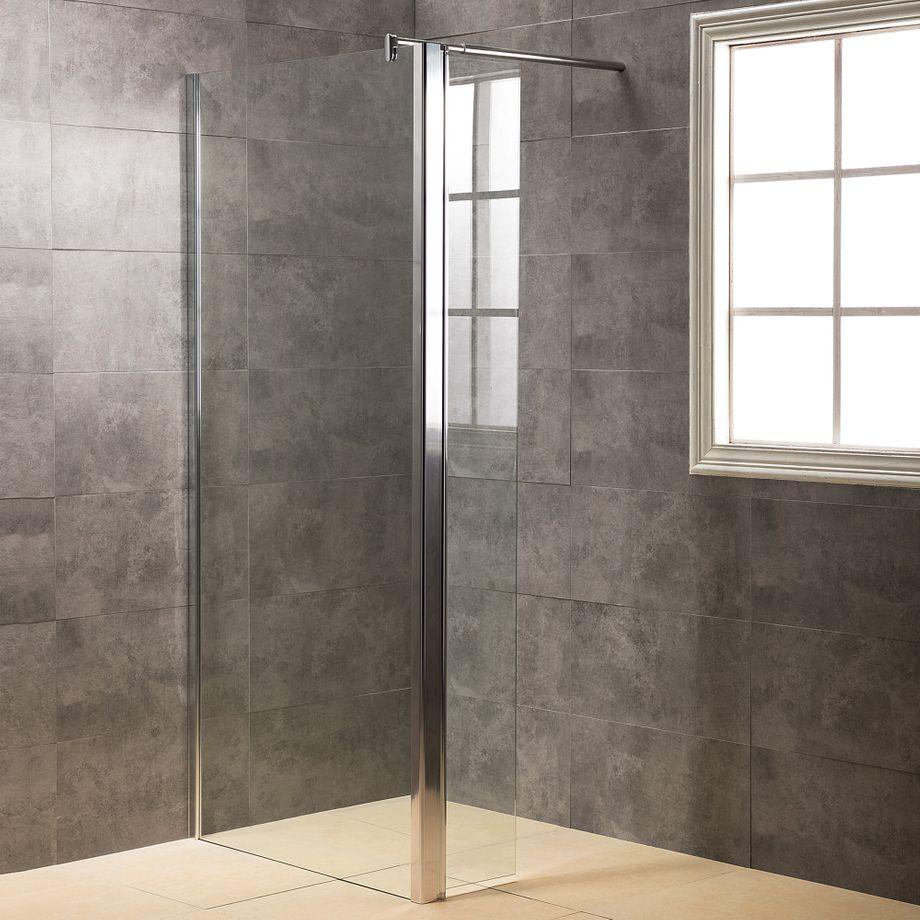 Viesta Duschwand, Duschtrennwand DWP120 - inkl. Eckpaneel (30 cm) - Duschabtrennung aus ESG Sicherheitsglas mit Nano-Beschichtung und Montagezubehör 120x195 cm – Bild 1