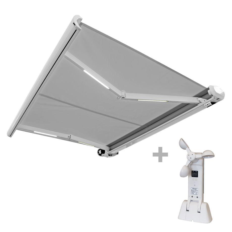 Nemaxx FCA35X Vollkassettenmarkise mit Licht- und  Windsensor 3,5m x 2,5m grau: Kassettenmarkise für optimale Beschattung aus UV-beständigem und wetterfestem Acryltuch in weißer Kassette - nach DIN EN 13561 – Bild 1