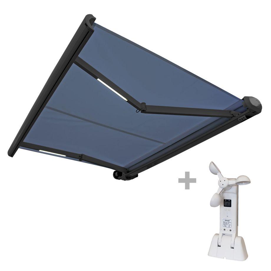 Nemaxx FCA35X Vollkassettenmarkise mit  Licht- und  Windsensor 3,5m x 2,5m blau: Kassettenmarkise für optimale Beschattung aus UV-beständigem und wetterfestem Acryltuch in grauer Kassette - nach DIN EN 13563 – Bild 1