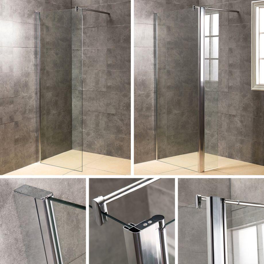 Viesta Duschwand, Glaswand verschiedene Modelle - Duschabtrennung, Duschtrennwand, Duschkabine 70-140x195cm – Bild 1