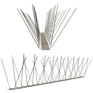 3.3 feet (1 Meter) 4 row pigeon spikes on stainless steel base - high quality solution for bird control spikes 001