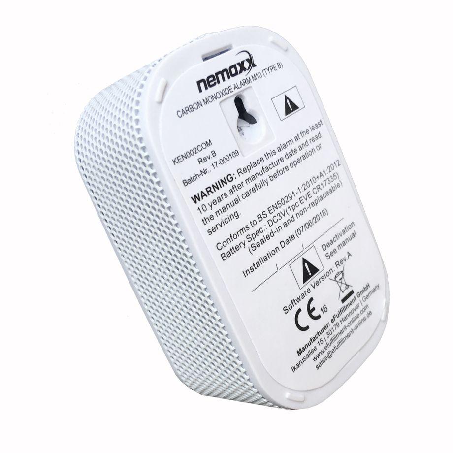 NEMAXX M10 mini CO Melder mit 10-Jahres-Batterie, Kohlenmonoxid Gasmelder, Alarm 85 dB - Gaswarner der neusten Technologie 75 mm, Rauchmelder nach DIN EN50291 – Bild 1