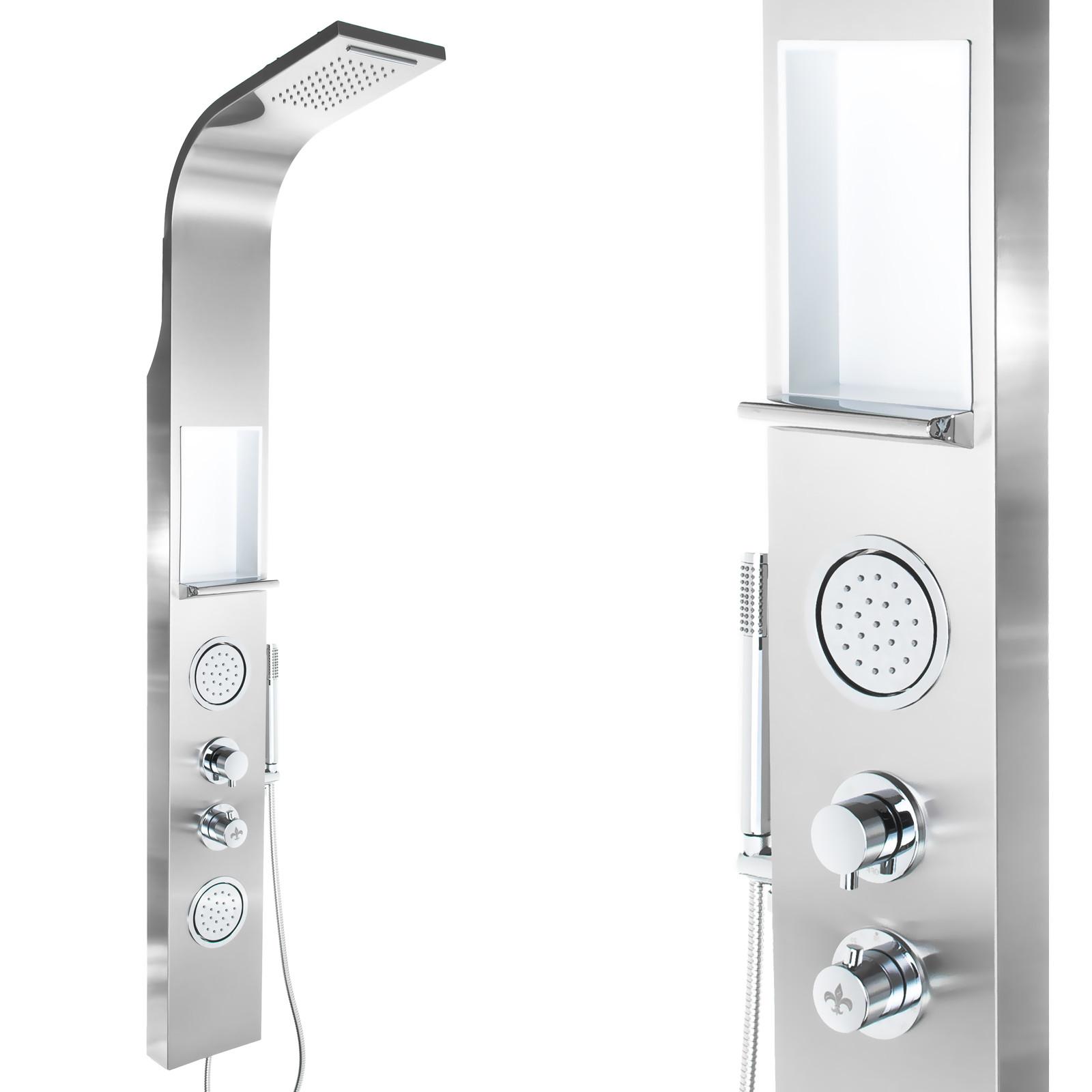 steinkirch edelstahl duschpaneel mit ablage regendusche duschs ule dusche brause ebay
