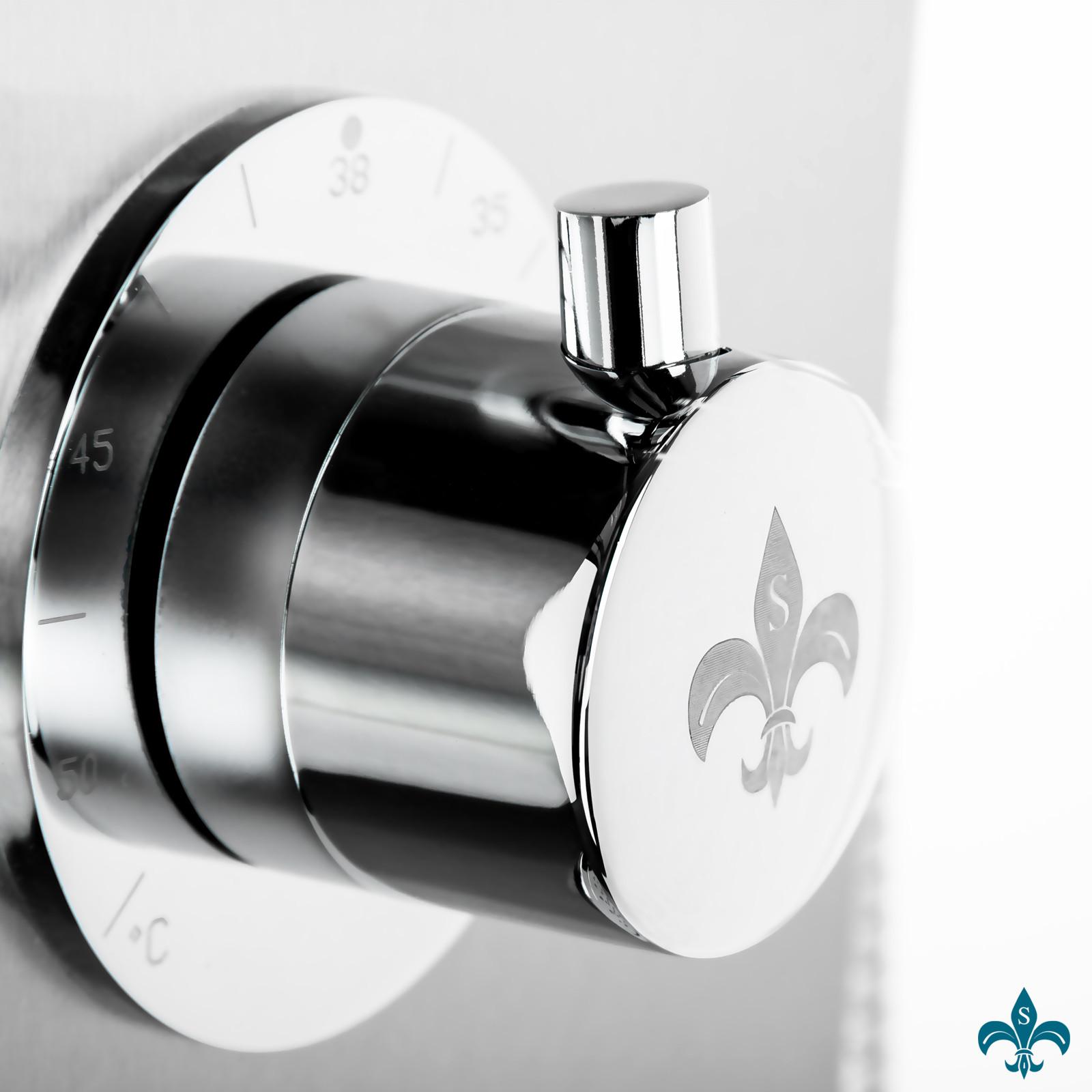 duschpaneel edelstahl mit integrierter ablage deutsche qualit t sanit r duschpaneele. Black Bedroom Furniture Sets. Home Design Ideas