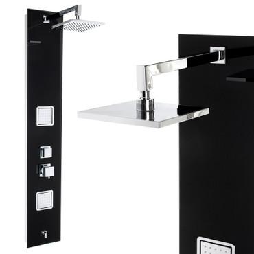 Duschpaneel mit schwarzem Glas und vielen Funktionen (8812) – Bild 1