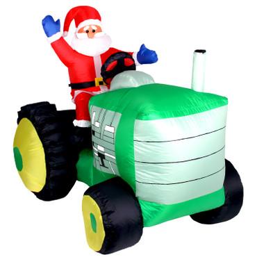 Weihnachtsmann auf Traktor Inflatable mit LED Beleuchtung – Bild 1