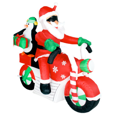 xxl weihnachtsmann santa pinguin auf motorrad led. Black Bedroom Furniture Sets. Home Design Ideas