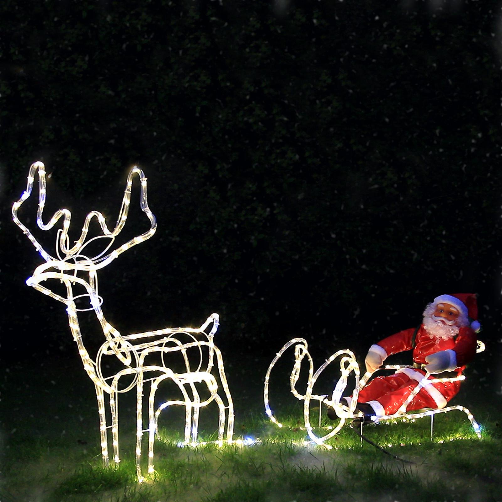 LED Rentier mit Schlitten und Weihnachtsmann | 210 cm lang, 432 LEDs ...