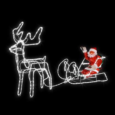 LED Rentier mit Schlitten und Weihnachtsmann – Bild 1