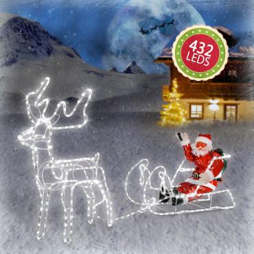 LED Rentier mit Schlitten und Weihnachtsmann – Bild 2