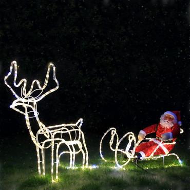 LED Rentier mit Schlitten und Weihnachtsmann – Bild 4