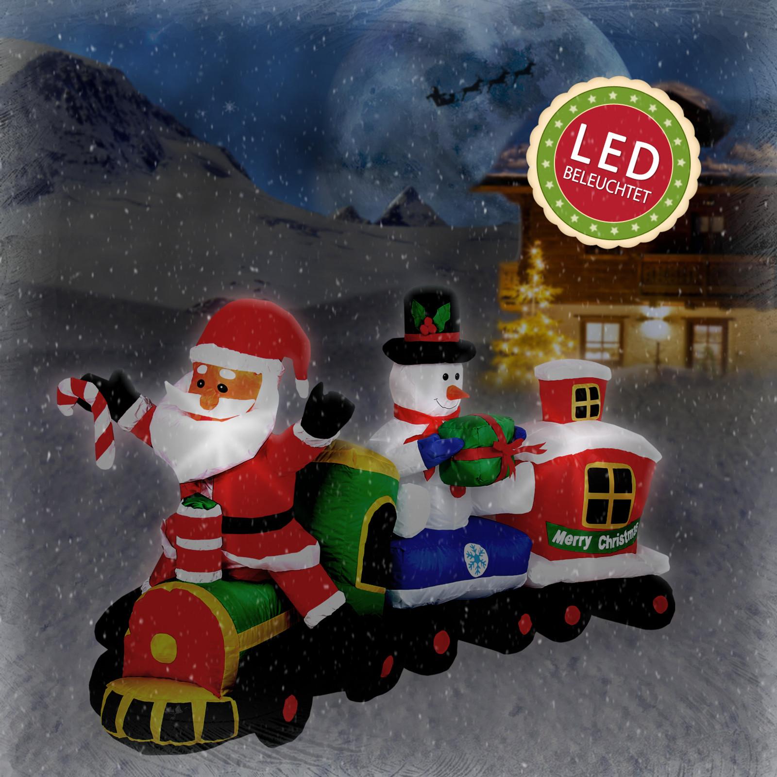 led beleuchteter 210 cm weihnachtszug mit santa und. Black Bedroom Furniture Sets. Home Design Ideas