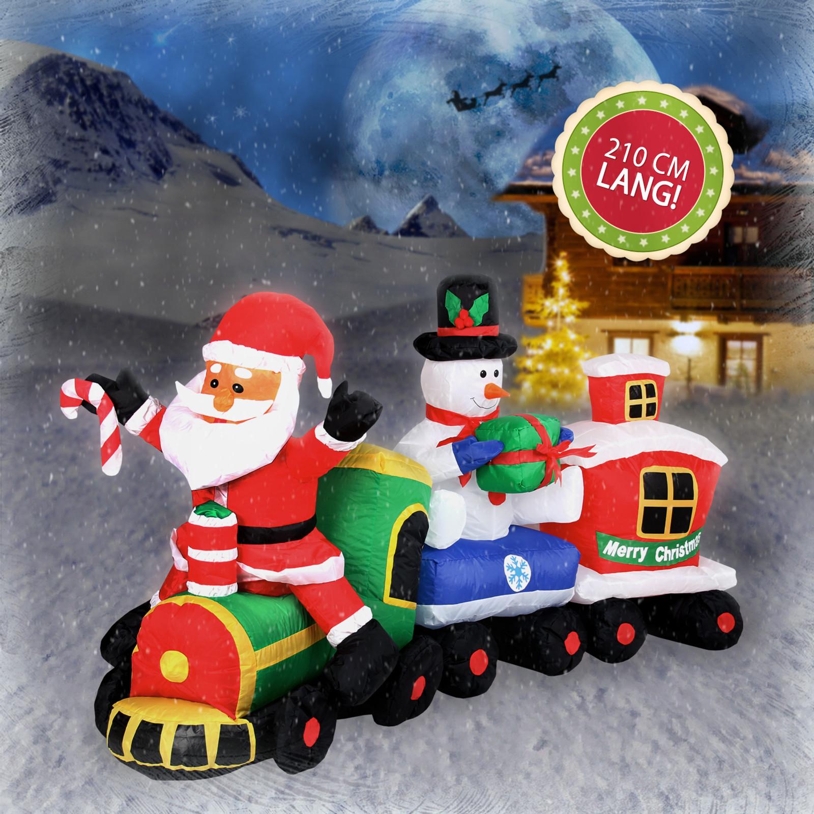 weihnachtszug mit weihnachtsmann und schneemann 210 cm inflatable dekoration. Black Bedroom Furniture Sets. Home Design Ideas